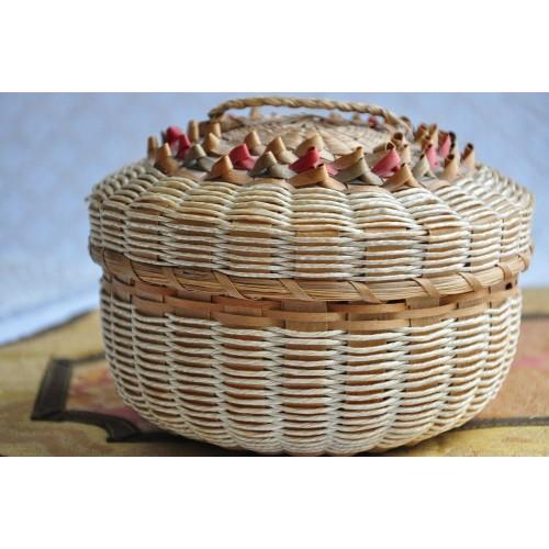 Canadian Native Finely Woven Splint Basket