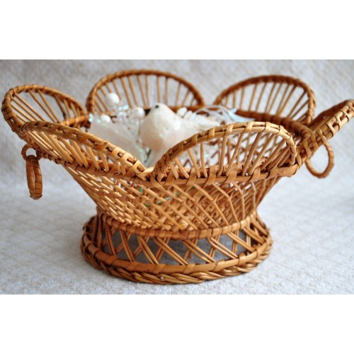Openwork Fruit or Bread Footed Wicker Basket