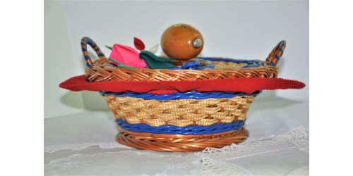 Round Colorful Sewing Basket with Lid