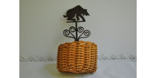 Small Wicker and Wrought Iron Wall Basket