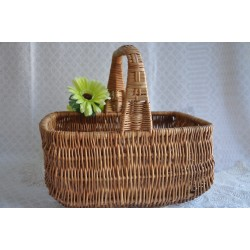 Vintage Gathering or Market Wicker Hand Basket