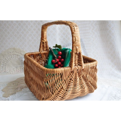 Vintage Gathering or Storage Wicker Hand Basket