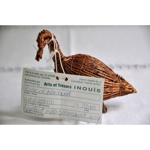 Oie crie en mélèze avec étiquette d'origine