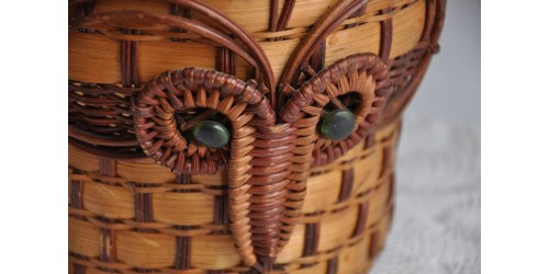 Old Ram Head Pattern Unique Rattan Storage Basket