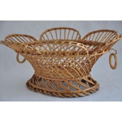 Openwork Vintage Fruit or Bread Footed Wicker Basket