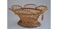 Corbeille à fruits ou à pain vintage ovale en osier blanc ajouré