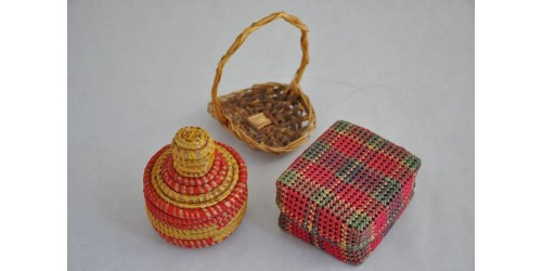 Coiled Braided Plaited Miniature Woven Baskets