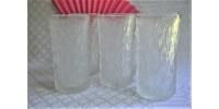 Verres à eau en verre texturé givré à motif d'écorce