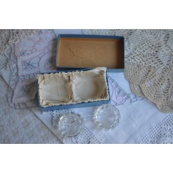 Pair Of Crystal Salt Cellars In Original Birks Box