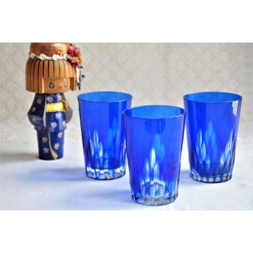 Blue Cut to Clear Bohemia Crystal Tumblers