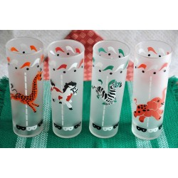 Set of 4 Libbey Glass with Carousel Animals