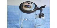 Chope allemande antique en cristal à couvercle peint