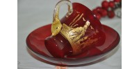 Antique Murano Ruby Glass Gilded Cup and Bowl