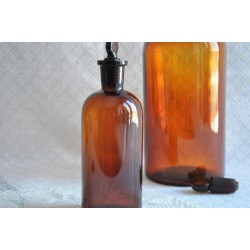Antique Amber Glass Tincture Bottle With Stopper