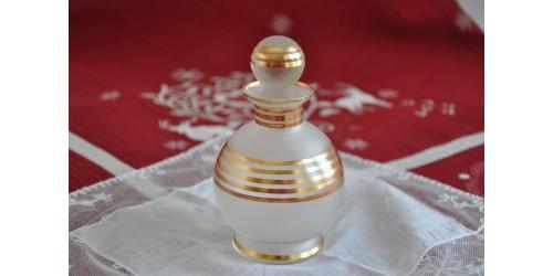 Parfumeuse  en cristal dépoli à bandes dorées