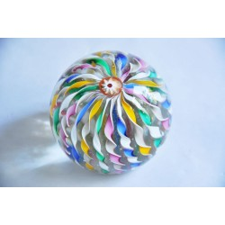 Hand Blown Multicolor Swirled Ribbons Art Glass Paperweight