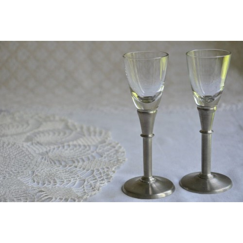 Miniature Pewter Stem Danish Shot Glasses