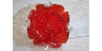Bol verre clair et rouge rubis en forme de fleur