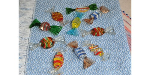 Murano Style Blown Glass Colorful Candies