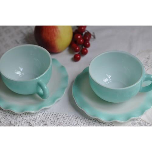Hazel Atlas Crinoline Turquoise Blue Cups & Saucers