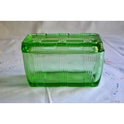 Vintage Hazel Atlas Uranium Green Refrigerator Dish