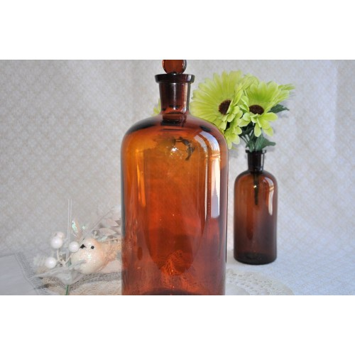 Amber Glass Large Apothecary Bottle with Stopper