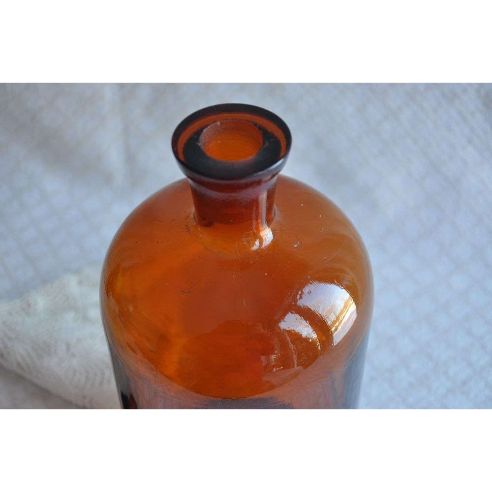 large antique amber glass apothecary bottle original stopper