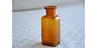 Small Antique Pale Amber Glass Signed Vial