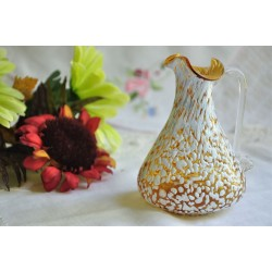 Yellow Glass Pitcher with White Spatter Overlay