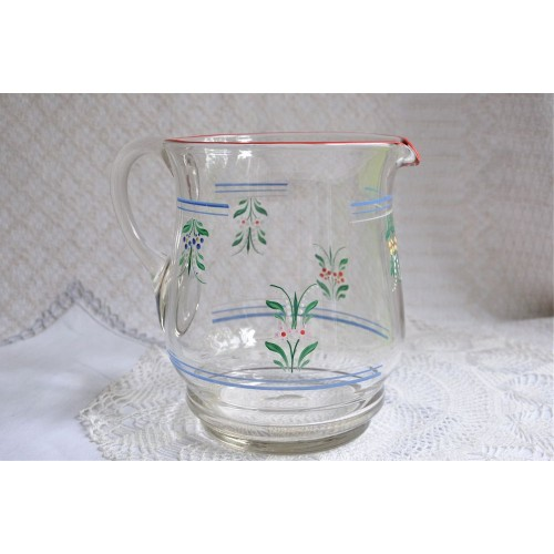 Victorian Mouth Blown Hand Painted Pitcher