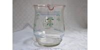 Pichet ancien en verre soufflé peint à la main