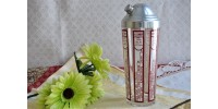 Vintage Red & White Recipe Bars Cocktail Shaker
