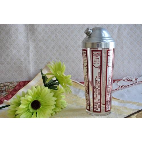 Vintage Red & White Recipe Bars Cocktail Shaker