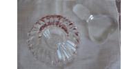 Petite parfumeuse en cristal clair à bouchon en coeur