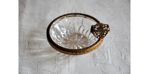 French Crystal And Ormolu Individual Ashtray