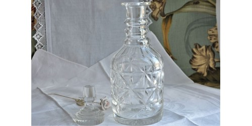 Antique Cut Glass 3-Rings Decanter c1920