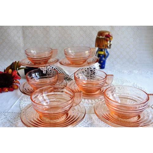 French Art Deco Pink Glass Cups & Saucers