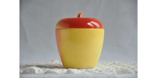 Pot Hazel Atlas en forme de pomme en verre milk glass