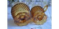 Sucrier et crémier ambrés avec bord doré Indiana Glass
