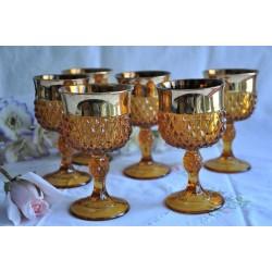 Verres à pied ambrés avec dorure Indiana Glass