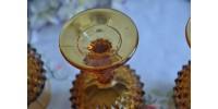 Verres à pied ambrés avec bord doré Indiana Glass