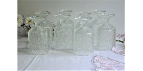 Eight Crystal Ice Textured Indiana Glasses