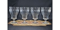 Vintage Clear Glass Footed Goblets Octagonal Panels