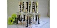 Huit verres à eau Libbey à décor noir et or