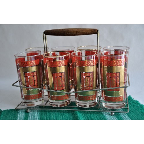 Libbey Set of Red and Gold Water Glasses