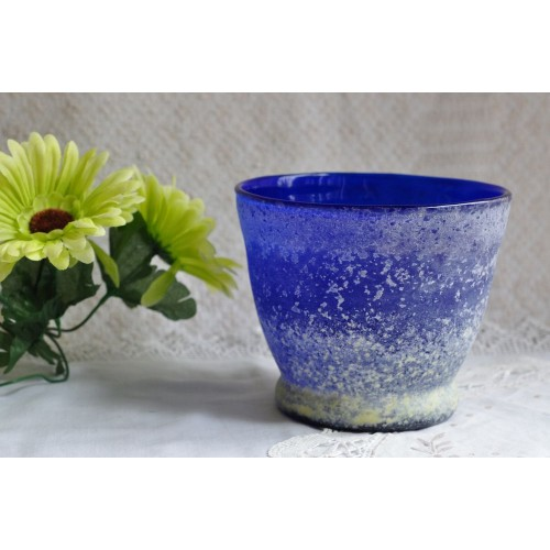 Mouth Blown Cobalt Blue Art Glass Planter