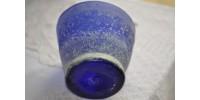 Cache-pot bleu indigo en verre soufflé