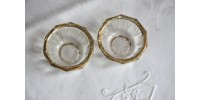 Pair Of Glass Salt Cellars with Gilded Rim