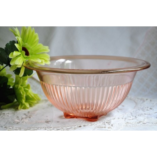 Pink Depression Glass Mixing Bowl