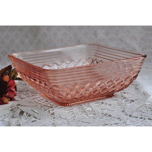 Rare Pink Pink Depression Glass Square Bowl